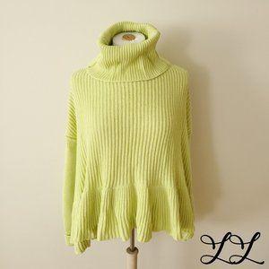 Free People Sweater Layer Cake Neon Green Peplum